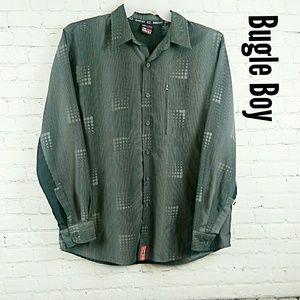 Vintage Bugle Boy vented longsleeve LG Black shirt